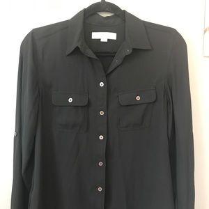 Loft Flowy Button-Up Shirt